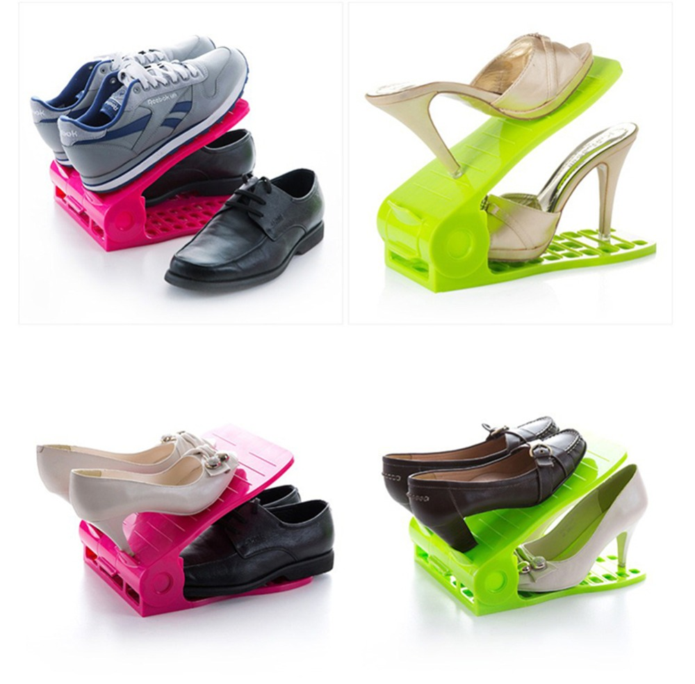 Home Space-Saving Adjust PP Plastic Shoe Rack Shelf Closet Storage Shoe Organizer Skidproof With High Quality(China (Mainland))