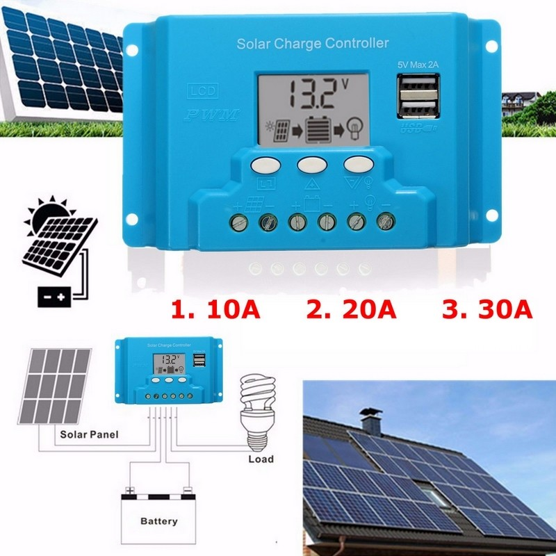 10A 20A 30A LCD Dual USB Solar Charge Controller 5V output For 12V 24V Solar Panel(China (Mainland))