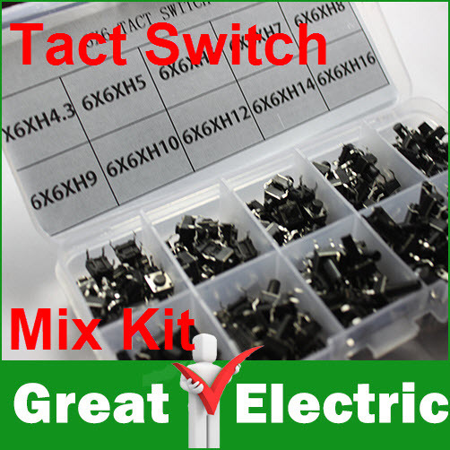 200PC/Box 6*6 Tact Switch Tactile Push Button Switch Kit, Height: 4.3MM~16MM Free Shipping #CGKCH025(China (Mainland))