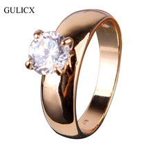 GULICX Fashion Statements Rings for Women 18K Gold Plated Round White Austrian Crystal Rings Zircon CZ Band Engagement Ring R083(China (Mainland))