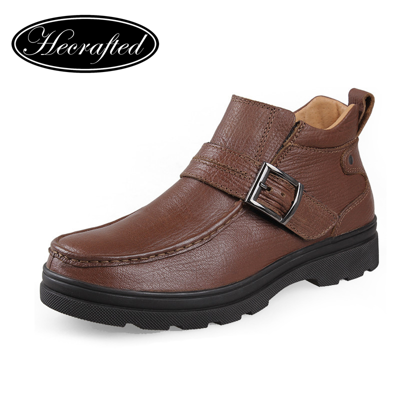 Genuine leather men autumn winter shoes,plus size men cow leather snow boots,leather hiking boots for men 38~47 HECRAFTED brands(China (Mainland))