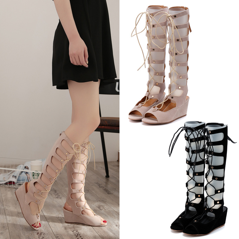 2016 Woman pumps high-heeled Tall boots Roman shoes cool hollow lace slope with strap high heels(China (Mainland))