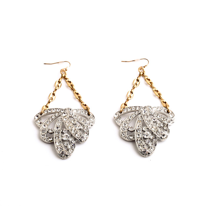 2014 Vintage Crystal Flower Drop Earring Chandelier Earring Dangle Earring Fashion Earring Free Shipping (Min $20 can mix)(China (Mainland))