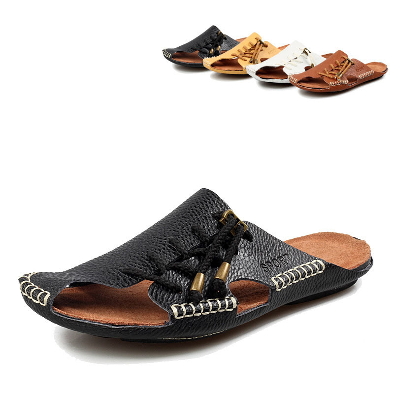 2015 Men's Flip Flops Summer Style Genuine Leather Mens Beach Sandals Solid Slip Shoes Men Sandalias ASM114 - Upper Class For store