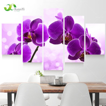 5 Panel New Modern Purple Flower Painting Picture Cuadros Decoracion Canvas Art Wall Decor For Living Room No Frame XY284(China (Mainland))