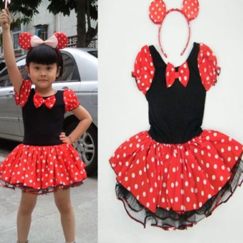Free shipping Girls Minnie Mouse Party Costume Ballet Dot Tutu Dress HairBand 2-8Y USA Seller(China (Mainland))