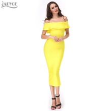 in stock 2016 new hot Ruffles Off The Shoulder strapless party Dress Bodycon Elegant evening bandage Dress wholesale(China (Mainland))