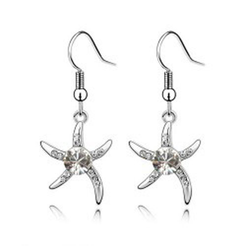 Girls jewelry accessories Austrian crystal starfish earrings 077 - Jinghong Jewelry store