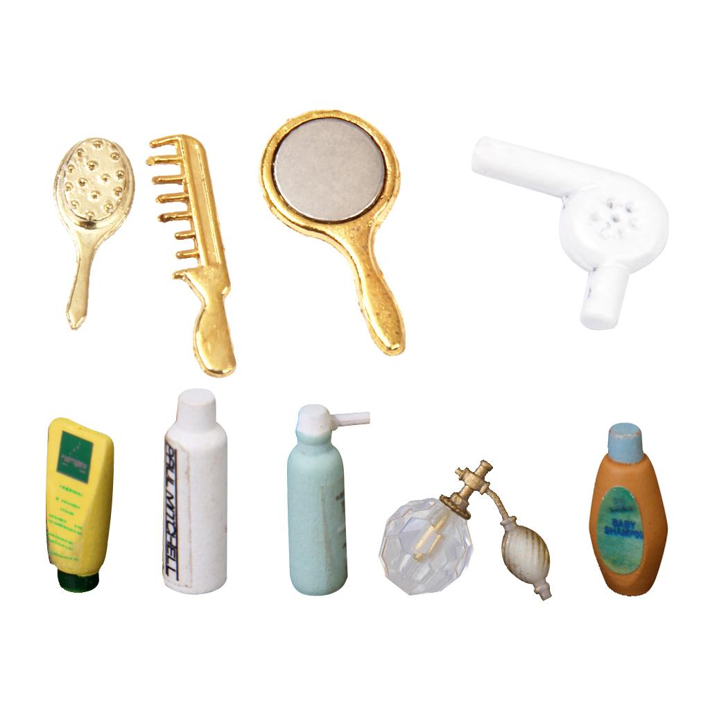 MagiDeal Dolls House Miniature Shampoo Bath Toiletries Set Bathroom Perfume Shampoo Bath Shower Accessory Decoration Set
