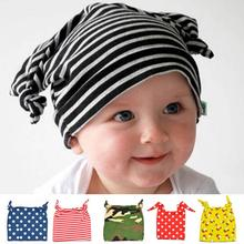 Baby Fashion Ox Horn Hat Infant Boy Girl Cotton Cap Toddlers Spring Autumn Beanies Cute Stripe & Dots Design Free Drop Shipping(China (Mainland))