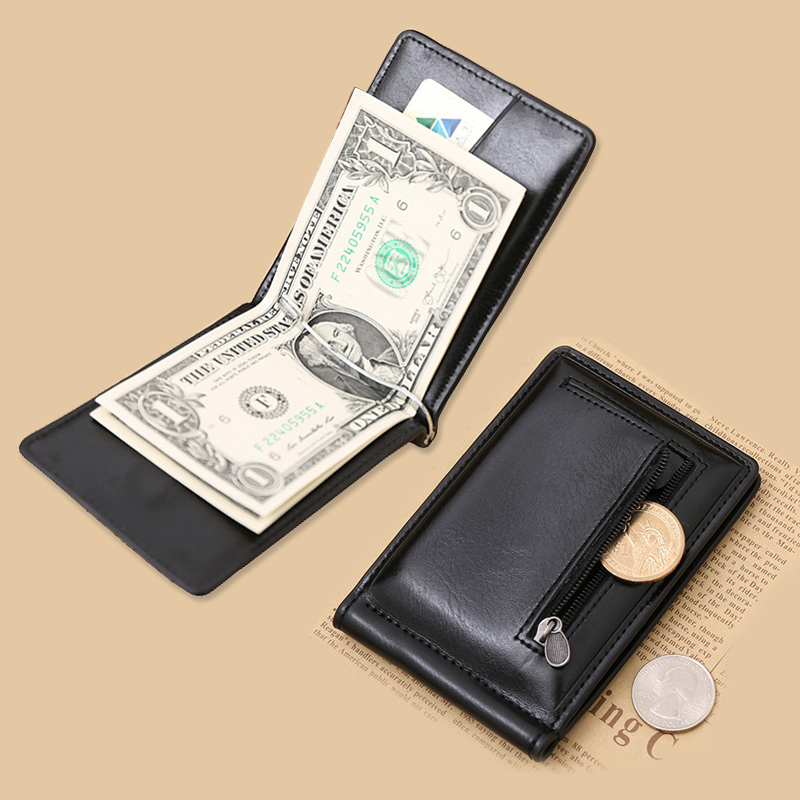 New Classic Fashion Men Dollar Clip Black Coffee Bright Leather 2 Folds Style Money Clips Clamp With Coin Pocket #04(China (Mainland))