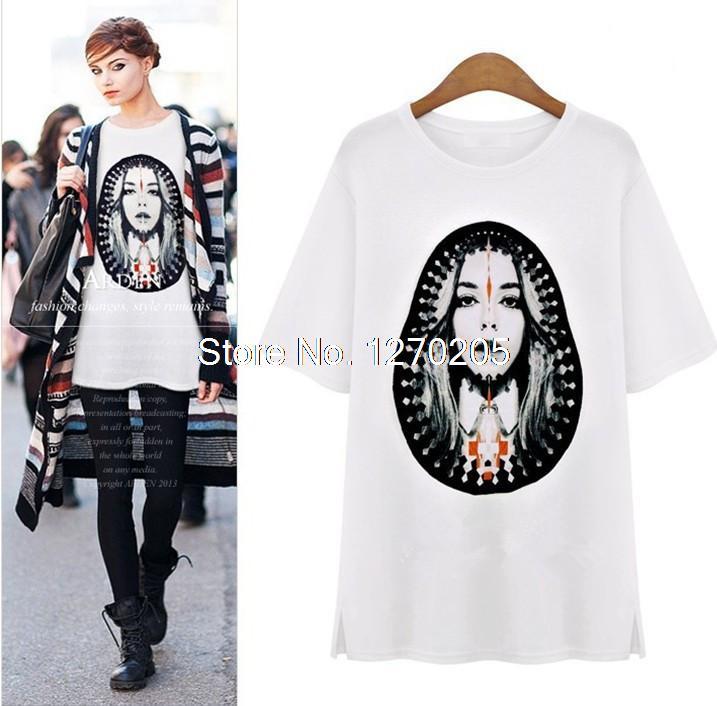 Fashion Gothic Punk Style Lady Woman Retro short sleeve T Shirt 2 Colors Women Summer Tshirt(China (Mainland))