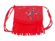 Bebê Menina Bonito Sacos de Borla Diamante Borboleta Mini Bolsas de Ombro para Sacos de Escola crianças meninas Princesa saco de embreagem corpo cruz(China)