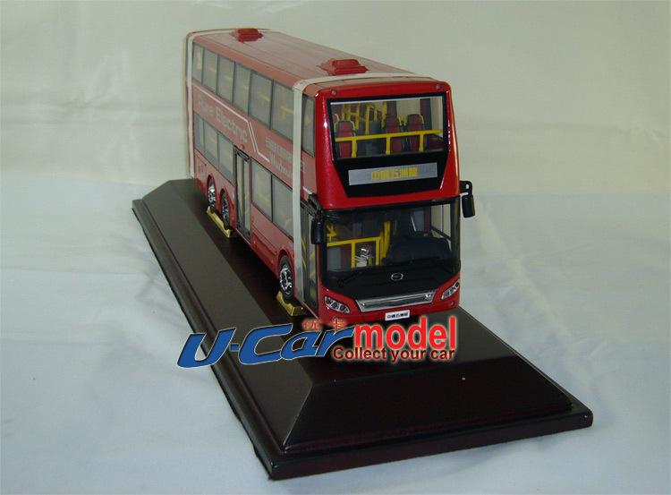1pcs / lot 1:43 China Wuzhoulong FDG6120HEVS New Energy Hybrid Motor bus car model Red (New arrival)(China (Mainland))