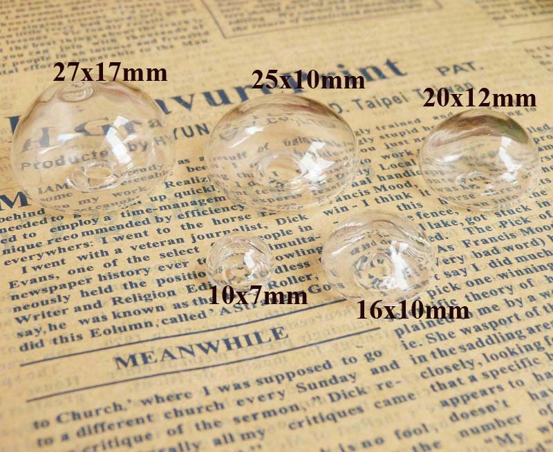 20x12mm/25x10mm/27x17mm--10x7mm/16x10mm/ fashion liquid clear glass bubble wishing bottle for diy ring materials---300pcs