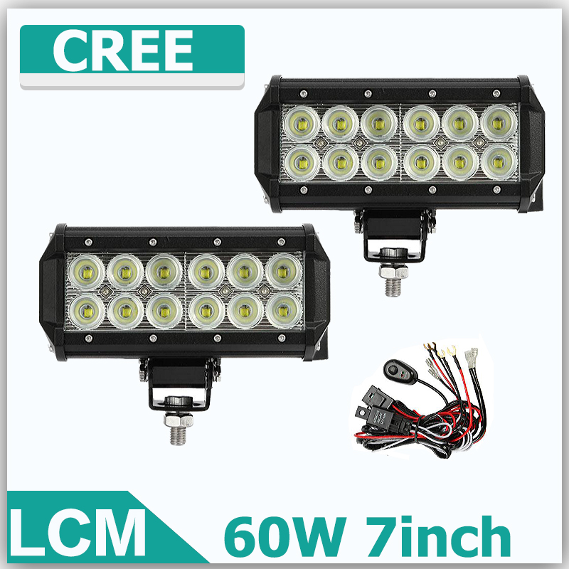 60W 7Inch Reflective Cup CREE Straight LED Light Bar OffRoad Work Lights Driving Lamp 12v 24v Truck Boat ATV SUV LED Bar. [LCM]