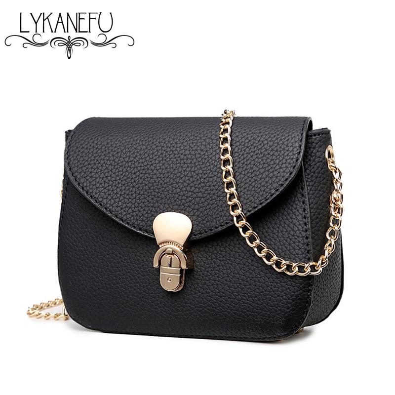 LYKANEFU 2016 Simple Women Messenger Bags Summer New Pu Leather Bag Small Shoulder Flap Bags for Ladies Clutch Handbag Black(China (Mainland))