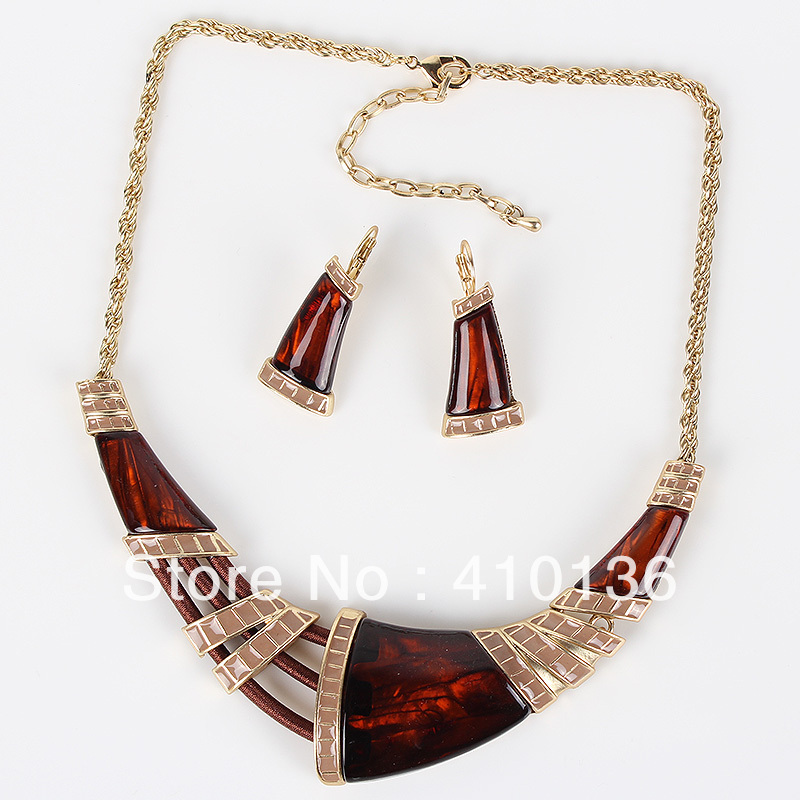 New Fashion Arrivals Wedding Jewelry Awesome Design: MS17640 Fashion Brand Jewelry Sets Brown/Black Necklace