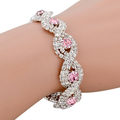 Splendid Wedding Cocktail Party Rhinestone Golden Silver twine Cuff Women s Chain Bangle 52OT