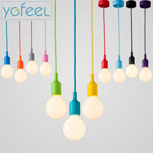 Modern Color Pendant Lights E27 Holder AC90-260V Silica Gel Material Store Art Single Head Dining-room Pendant Lamps(China (Mainland))