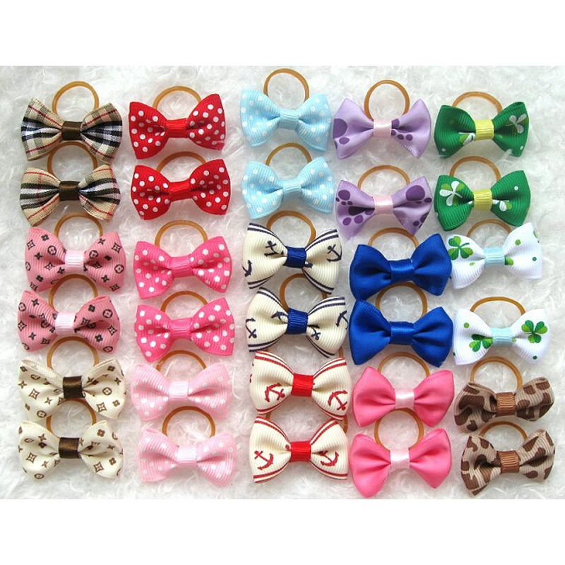 100pcs/lot Pet Hair Accessories Hairpin Handmade Boutique Dog Hair Bows Cat Clips Pet Grooming Cheap Wholesale 18 Colors