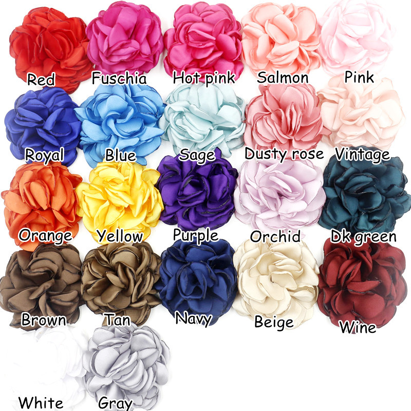 "New Arrive Handmade 3"" Silk Fabic rose flower Chiffon rose hair flowers for wedding decoration apparel baby girls headbands(China (Mainland))"