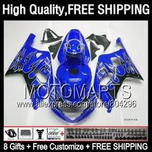 Buy Black flames 8Gift Fairing For SUZUKI GSXR750 2001 2002 2003 R600 Blue blk 1JK8141 K1 GSXR 600 750 01 02 03 GSXR600 GSX R750 for $390.00 in AliExpress store