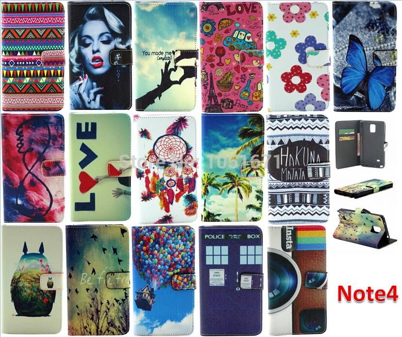 Flower PU Wallet Leather Case for Samsung Galaxy Note 4 N9100 With Credit Card Holder free shipping(China (Mainland))