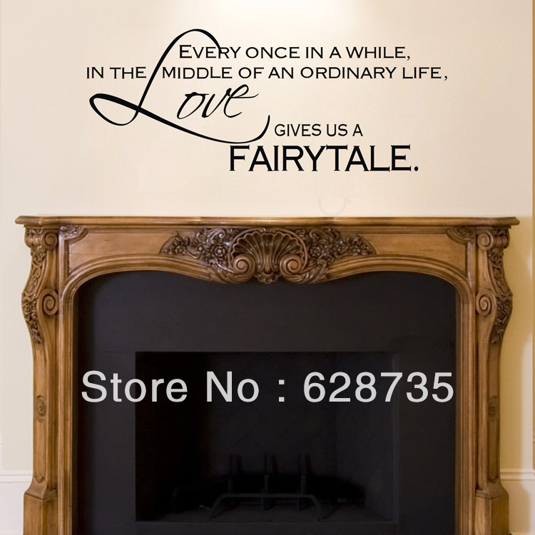 love gives us a fairytale wall stickers bedroom decor vinyl art fireplace wall decal quotes free