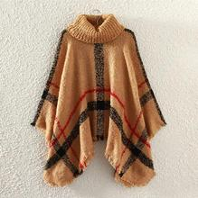 Hot New Europe America Style Pashmina Assorted Colors High Collar Tartan Knitwear Tassel Cloak Shawl Tippet