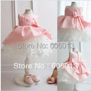 Flower baby chilren girls ball grown dress pink tutu bowknot girls Dress(China (Mainland))
