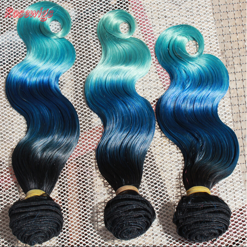 Free Shipping!Brazilian Ombre Virgin Hair 1b/ Blue/Green three Tone Ombre Human Hair Extensions,  Mixed Size10-30 3pcs/lot<br><br>Aliexpress