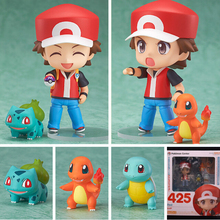 Pokemon Action Figures Toy Nendoroid Ash Ketchum Zenigame Charmander Bulbasaur Action Figure Pokemon Red Anime Collectible Model