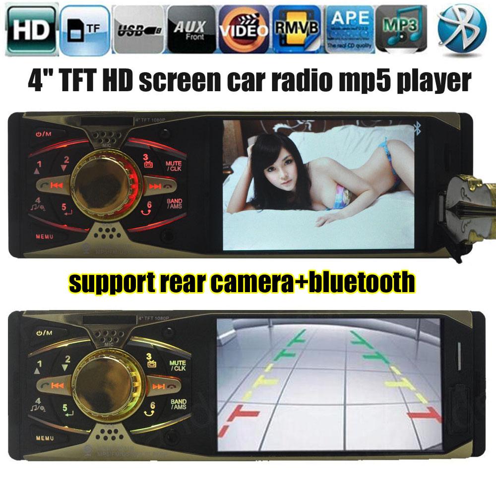 New 1 DIN 12V Car Radio MP5 player 4'' inch HD screen 1080P MP3 Audio Stereo FM Bluetooth w/USB/SD MMC Car Electronics In-Dash(China (Mainland))
