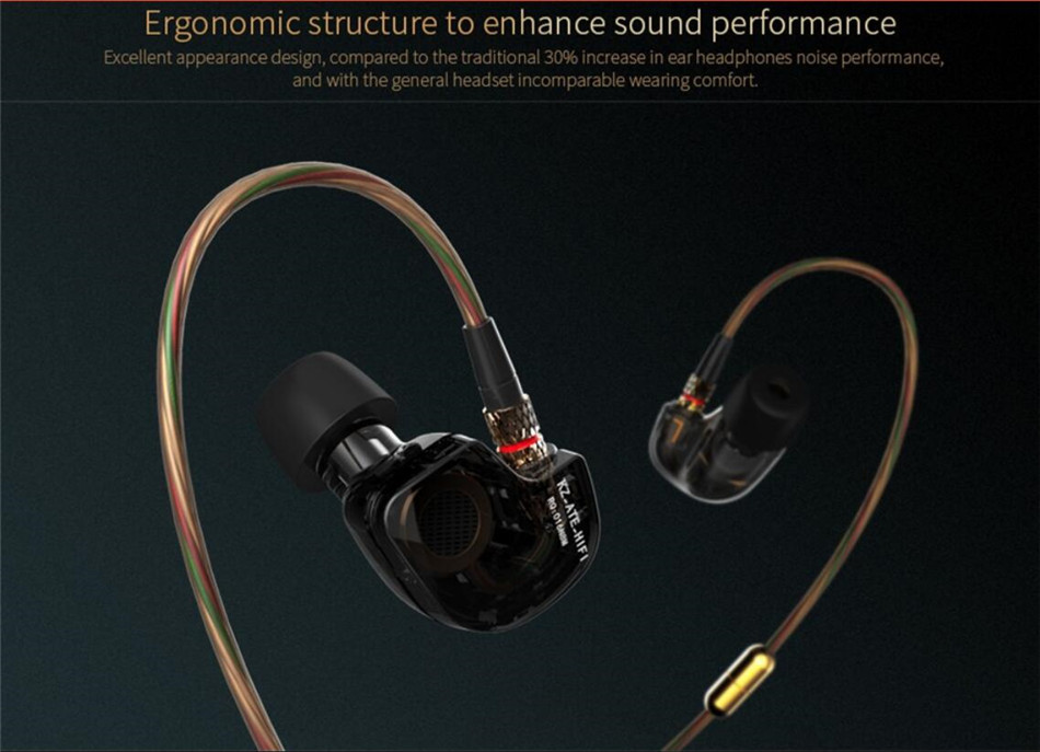 KZ ATE Headphones Bass Sport Ear Hook Earphones HiFi Earphones Stereo Earbuds Original KZ-ATE In Ear Headphones With Microphone