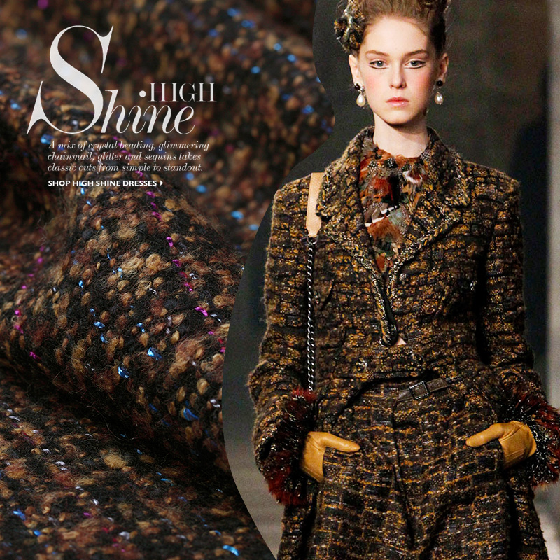 Mocha color dot fabrics woven tweed wool coat wool fabric advanced custom wholesale high quality wool cloth(China (Mainland))