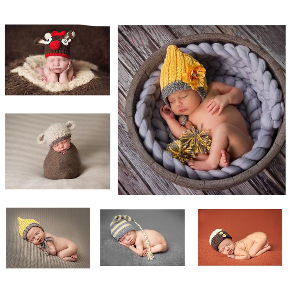 Newborn Photography Props Knitted Crochet Baby Hat Caps Sweet Animal design Adorable Deer and Sheep style Baby Beanies GM077(China (Mainland))
