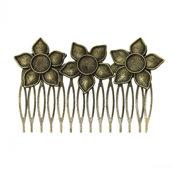 DoreenBeads (5PCs/pack) Antique Bronze Comb Shape Hair Clips with Flower Hollow Cabochon Setting(Fit 10mm Dia) 8.4cm x 5.3cm(China (Mainland))