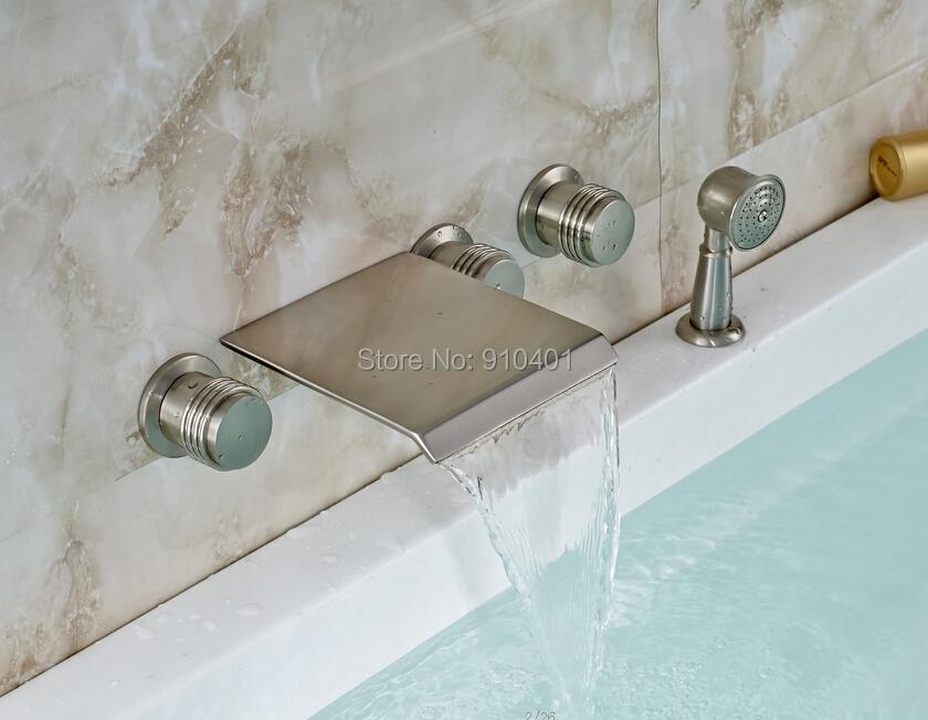 Здесь можно купить  Free Shipping Wholesale And Retail Promotin Modern Brushed Nickel Waterfall Bathroom Tub Faucet Sink Mixer Tap W/ Hand Unit  Дом и Сад