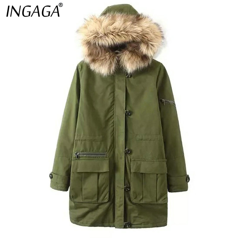 INGAGA 2016 Newest Women Parka Vogue Army Green Fur Hooded Zippers Pockets Long Sleeve Coat