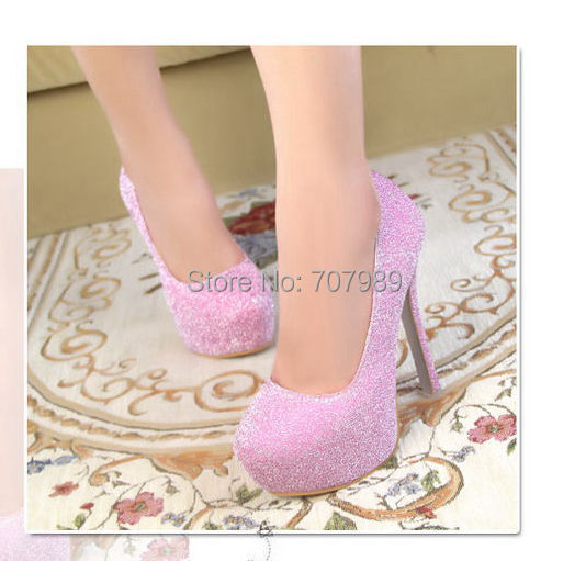 New Fashion Sexy Pumps Ladies round toe Blingbling Platform High Heels Stilettos Shoes Size US 3.5-8