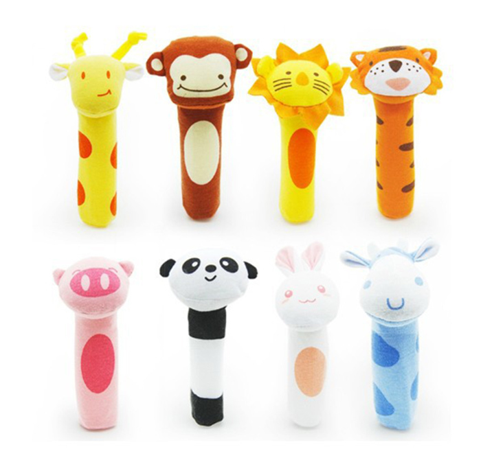 2015 newborn toys Soft Animal Model Handbells plush Rattles Squeeze Me Rattle Cute Gift Baby toy 0-12months HT014