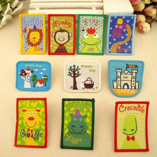 Children's clothing baby patch stickers decorative stickers affixed commoner super cute cartoon woven label -free gum(China (Mainland))