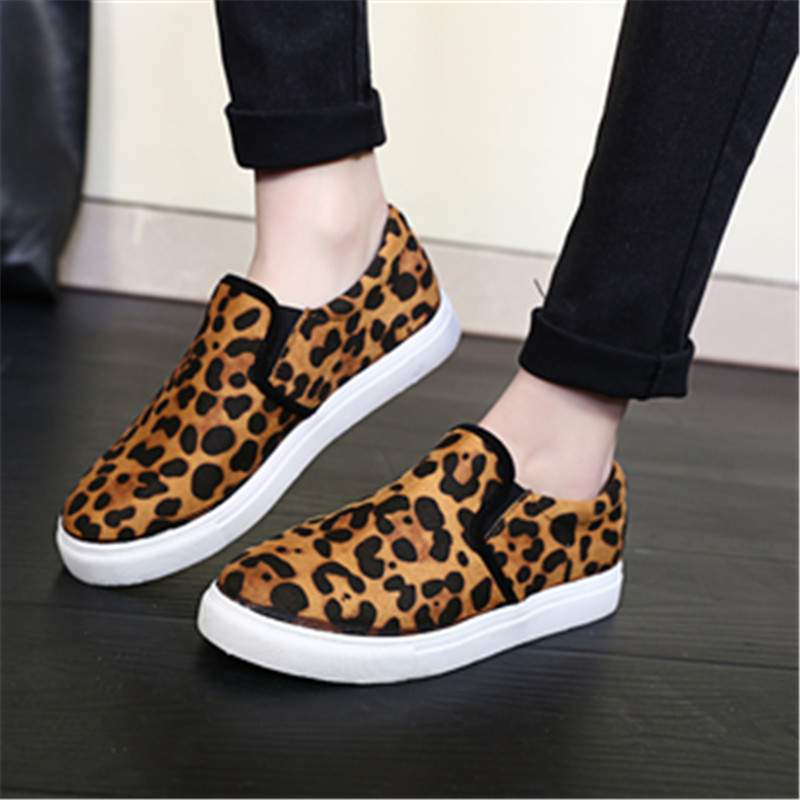 2015 Autumn Trendy Fashion Women Leopard Flat Shoes Breathable Canvas Slip on Casual Flat Creepers Shoes zapatos mujer(China (Mainland))