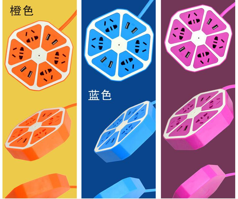 2016 new design Platooninsert charger with colorful body 6output surge proftected power strip extension socket type usb charger(China (Mainland))