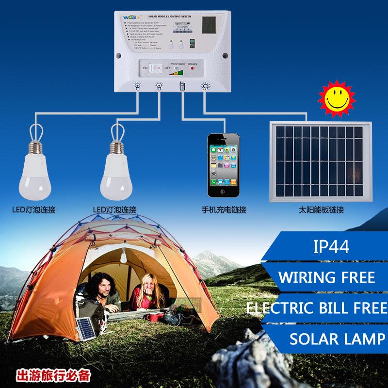 Portable LED Outdoor Solar Lights System Kit Waterproof 2 Bulbs Mobile Phone Power Bank Rechargable Battery Camping Lighting(China (Mainland))