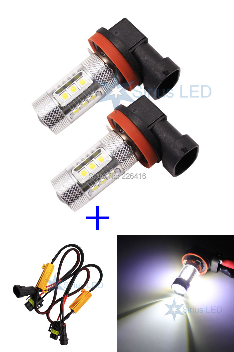 2x Error Free Cree SMD H8 LED with Load Resistor 80W High Power Projector lenses DRL New(China (Mainland))