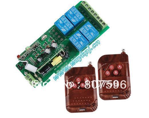 Hot AC85V~250V 4 channel Wireless Remote Control light Switch AC 110V 100V 433Mhz 315MHZ Home Lighting Control(China (Mainland))