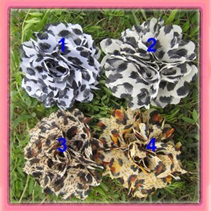 Free shipping!24pcs/lot 2.5'' New  chiffon leopard fabric flowers  hair clip brooch   4colors for your choice