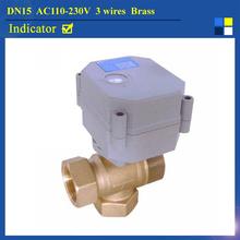 DN15 AC110-230V 3 Wires TF Electric 3-Way Valve TF15-B3-C NPT/BSP 1/2'' T Type Brass Ball - Tech store
